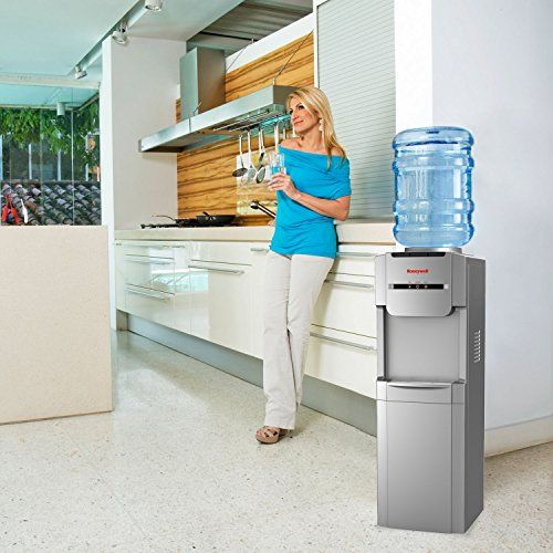 Honeywell HWB1073S Freestanding Hot, Cold & Room Water Dispenser with Stainless Steel Tank to help improve water taste and avoid corrosion, Back Handle for EASIER HANDLING, Silver  Honeywell HWB1073S 40-inch freestanding water cooler dispenser, hot, room and cold temperatures with thermostat control, silver. adjustable thermostat control for cold water temperature adjustable thermostat control for cold water temperature easy to use mechanical push-in levers with hot water child safet..