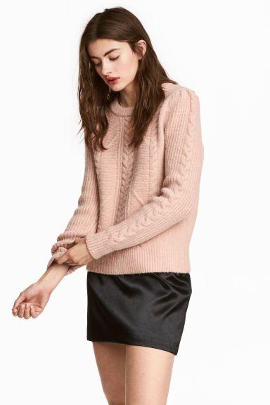Sweter w strukturalny splot - Pudroworóżowy - ONA | H&M PL 1