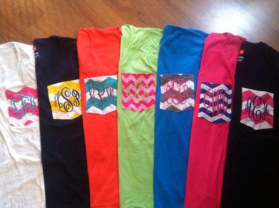 Personalized Monogrammed Chevron Pocket T-shirts on Etsy, $18.00