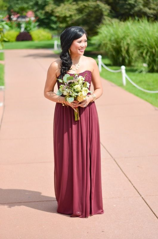 Wine Lace And Mesh Long Strapless David S Bridal