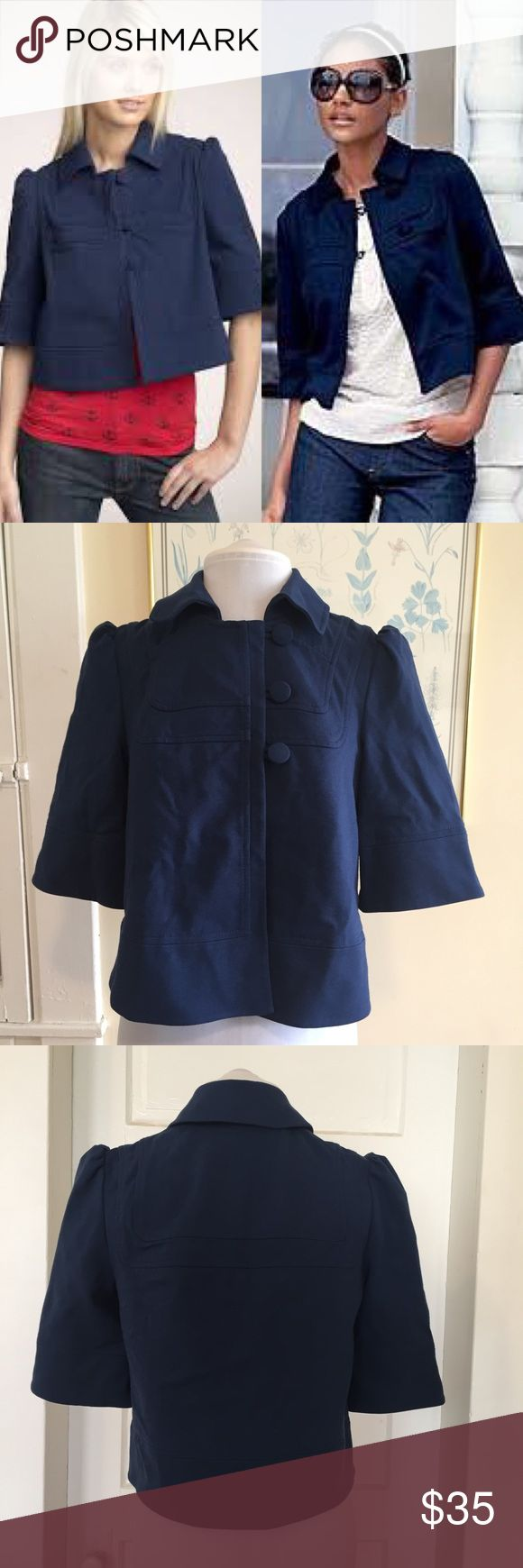 "{French Connection} ""Honky Tonk"" Navy Mod Swing The perfect transitional piece for spring! Heavy knit fabric, 3/4 sleeves, slightly puffed sleeves, and a cool swingy shape make this the perfect complement to skinny jeans and sun dresses alike! French Connection Jackets & Coats"