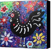 Folk Art Chicken Canvas Prints - Chicken Day Of The Dead Canvas Print by Pristine Cartera TurkusCanvas Prints, Chicken Canvas, Dead Canvas, Folkart
