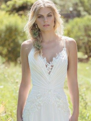 Dropped Waist Lace & Chiffon wedding gown by Lillian West - 6499
