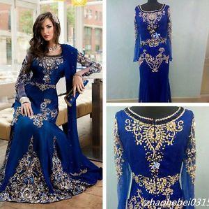 2016 Arabic Dubai Moroccan Kaftan Dresses Luxury Long Sleeve Muslim Evening Gown