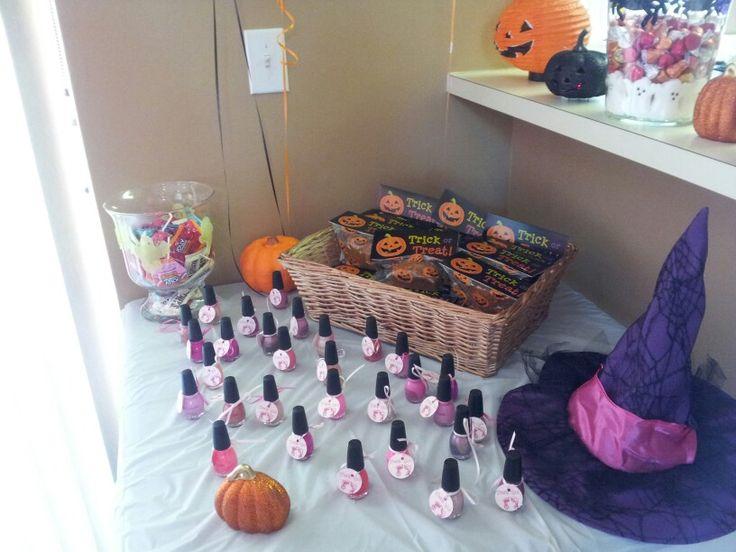 Party favor nail polish and pumpkin bread