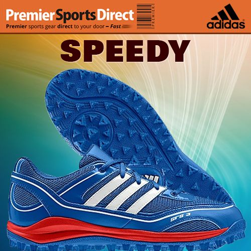 Get to the ball quickly with the lightweight, multi-pitch Adidas SRS 3 Hockey Shoe. #hockey #FieldHockey #shoes