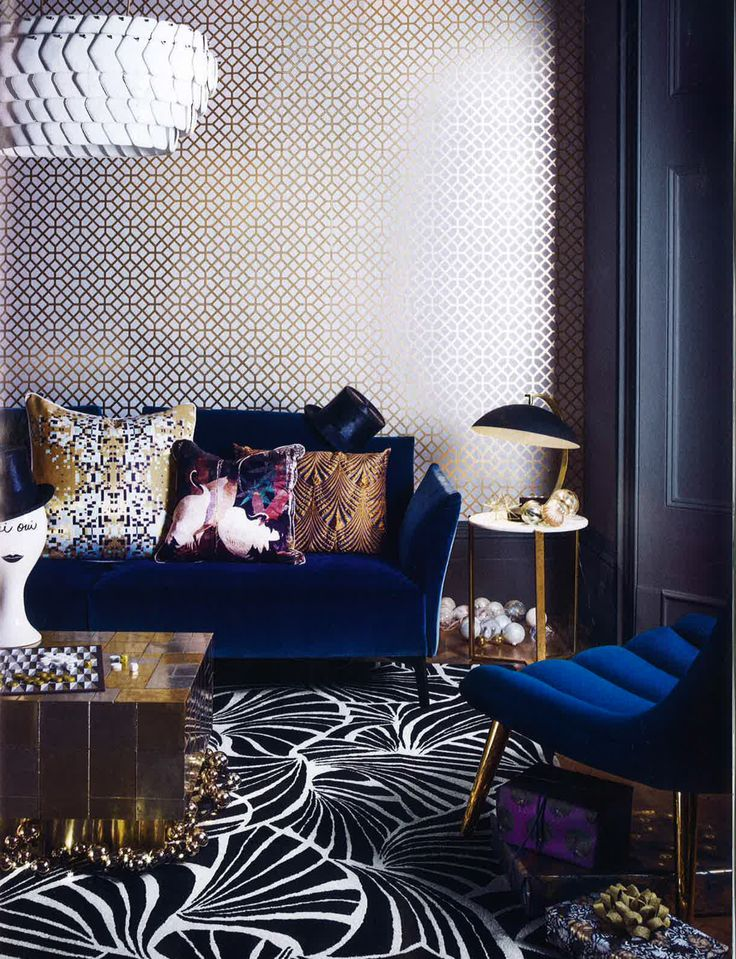 Designers Guild Pisani wallpaper as seen in Living etc, UK