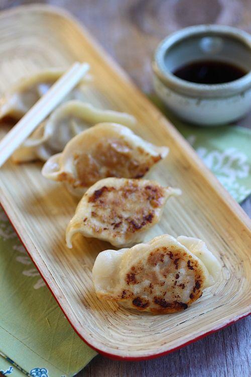 Pan-fried Dumplings recipe - pork, shrimp, cabbage, ginger, scallion, soy sauce, sesame oil. #takeout #chinese #pork #seafood