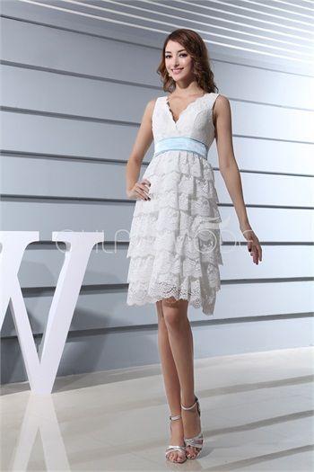 Robe de mariée civil mini pas cher V col à volants avec ceinture en satin et dentelle