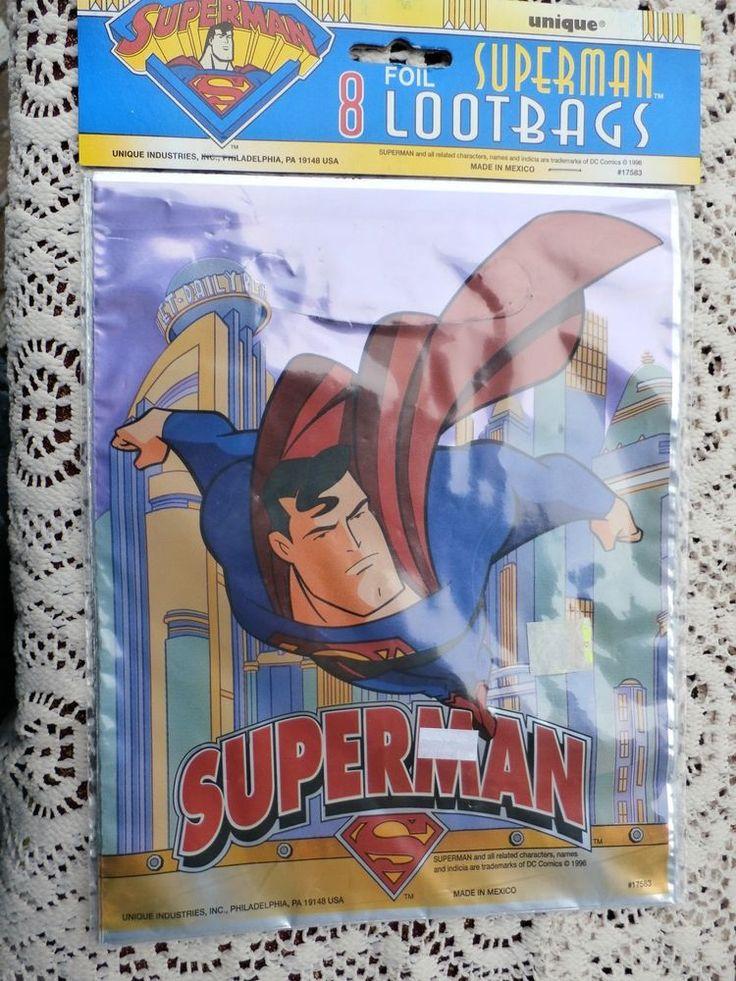8 Vintage Superman Loot Bags Treat Sacks Unique Brand Foil Color 1996 FREE SHIP #Unique #partysupplies