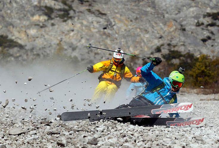 Freeride skiers. Haiming, Austria