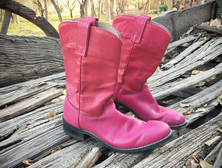 Pink Cowboy Boots Women's Size 8.5 (fits 7.5 to 8) Two Tone Hot Pink Cowgirl Boots