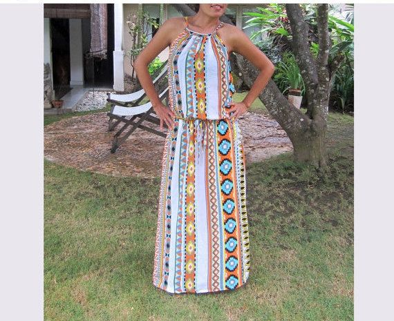 Tribal Orange maxi dress summer dress sun dress long by LoNaDesign