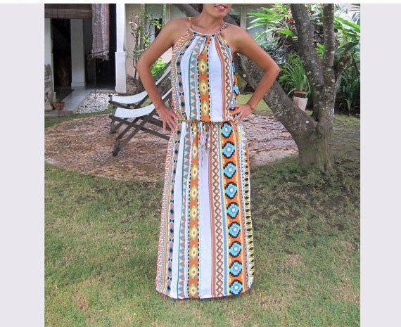 Tribal Orange maxi dress summer dress sun dress long by LoNaDesign