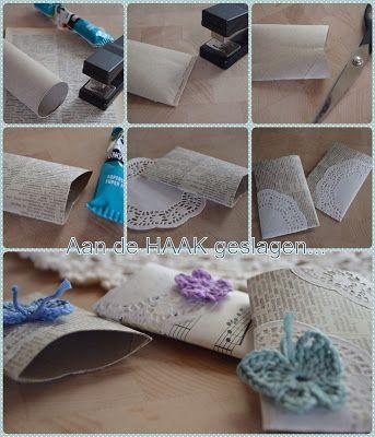 Lege WC rolletjes - zo ontstaan er leuke envelopjes, die zo gepiept zijn en waar je al je creativiteit in kwijt kan met knopen, lintjes, stofjes, papier, masking tape enz, enz.