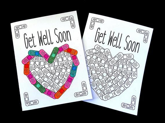Get Well Soon Card With Bandaid Heart Pdf Zentangle Coloring Etsy In 2020 Coloring Pages Cards Printable Greeting Cards