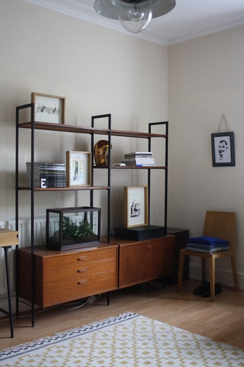 Sideboard and shelves (Ladderax I think)