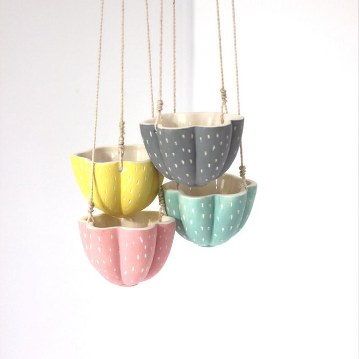 Tiny ceramic hanging planters available at DTLL