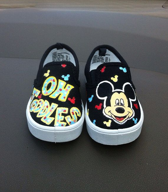Custom Painted Mickey Mouse Shoes by HaloHouse on Etsy, $60.00