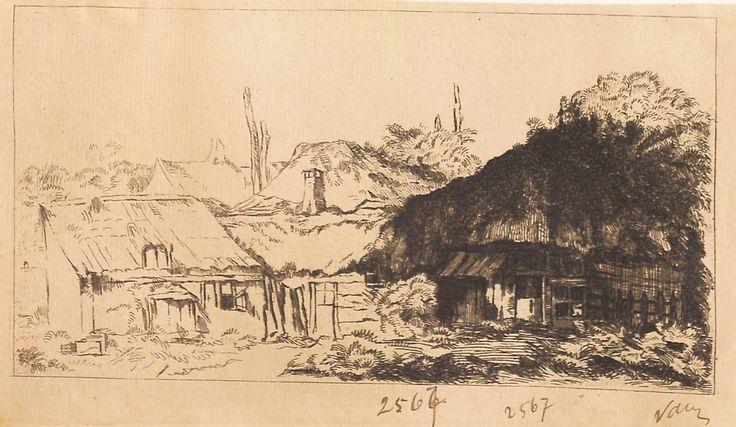 """Peisaj cu case rustice, 1789-1797 (după Rembrandt). Imagine din colecțiile Bibliotecii """"V.A. Urechia"""" Galați."""