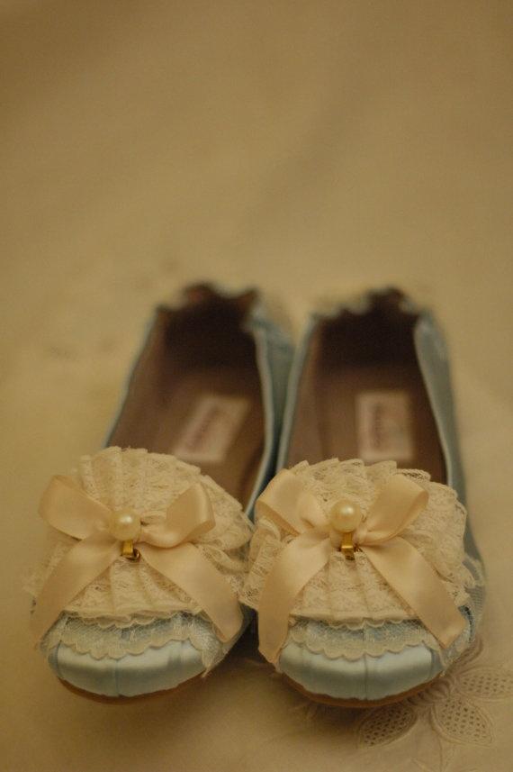 Marie Antoinette Pale Blue & Ivory Ballet Flats by OxfordIsHeaven, $45.00