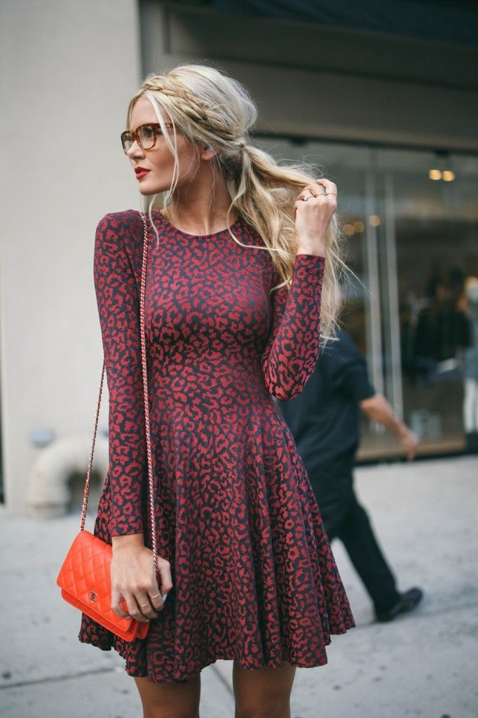 long sleeve dresses for fall, braided hair, glasses
