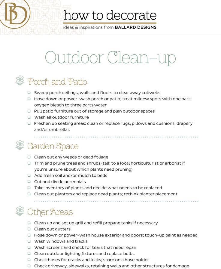 Spring outdoor cleaning checklist