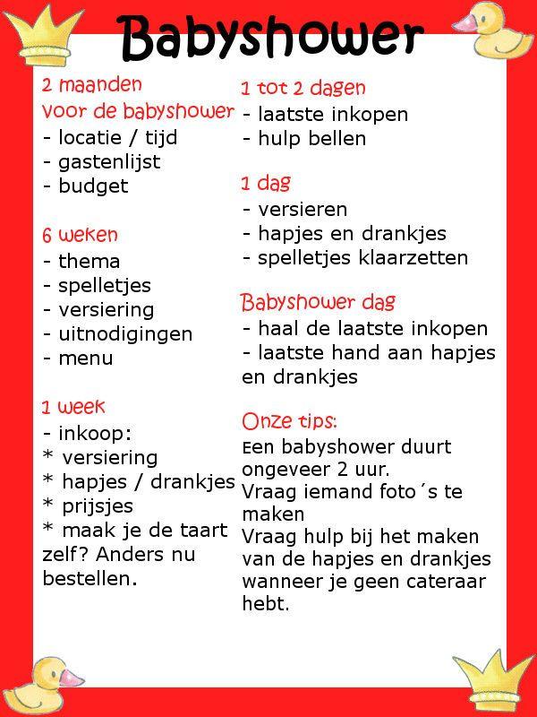 Babyshower checklist, altijd handig