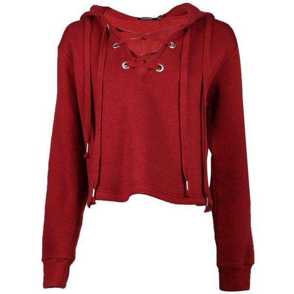 Boohoo India Fit Lace Up Running Hoodie ($15) ❤ liked on Polyvore featuring tops, hoodies, red, hooded sweatshirt, lace up hoodie, lace up front top, laced up top and red lace up top