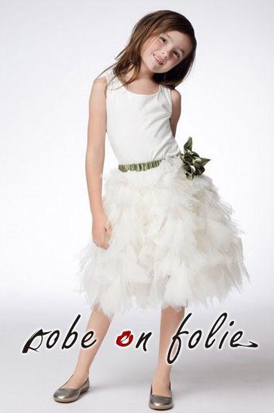 """""""LILOU""""- Adorable robe demoiselle d'honneur blanc pour petite fille en satin et mousseline de haute qualité"""
