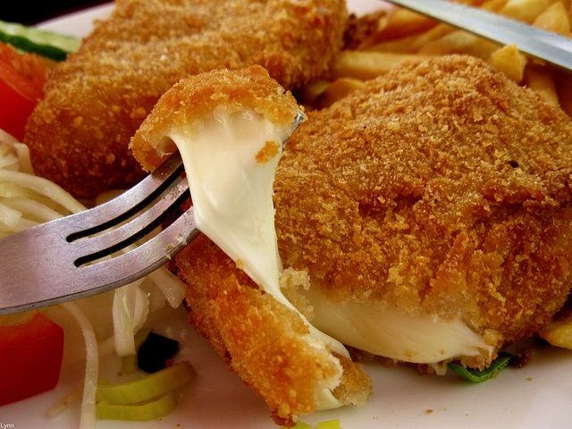 Great smazeny syr - Prague, Czech Republic - Breaded fried cheese. This dish will do n...