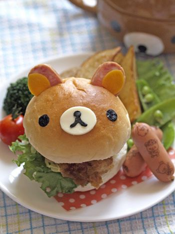 Rilakkuma fried chicken burger