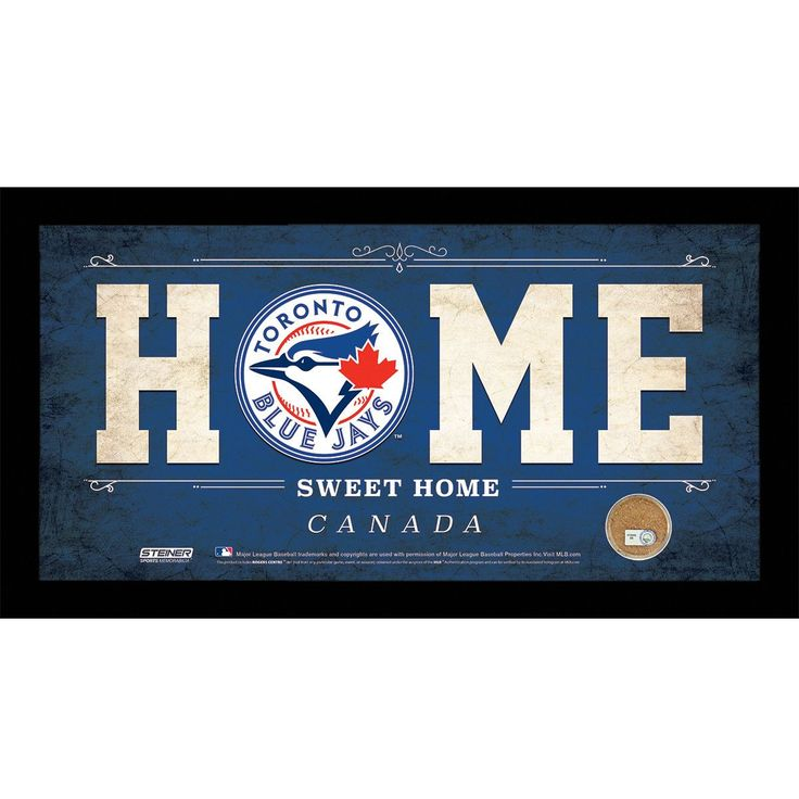 Toronto Blue Jays 6x12 Home Sweet Home Sign with Game-Used Dirt from Rogers Centre - Celebrate your allegiance to your team with this incredible Framed 6x12 Home Sweet Home Team Sign. This is must have for anyone who loves their team but cant make it to the game. This sign is perfect for your man cave above your bar or wherever you want to proudly display your fandom. This Steiner Exclusive Collectible includes Game-Used dirt from your teams Stadium to bring you closer to the action.100%…