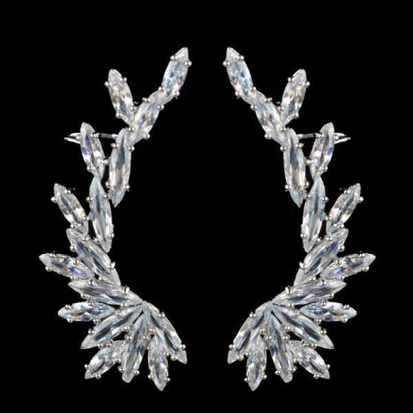 Swarovski Crystal Cuff Earrings wedding Ear Climbers   Body Kandy Couture #earclimbers