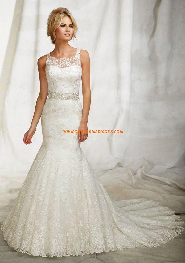 Belle robe de mariée sirène tulle application perles