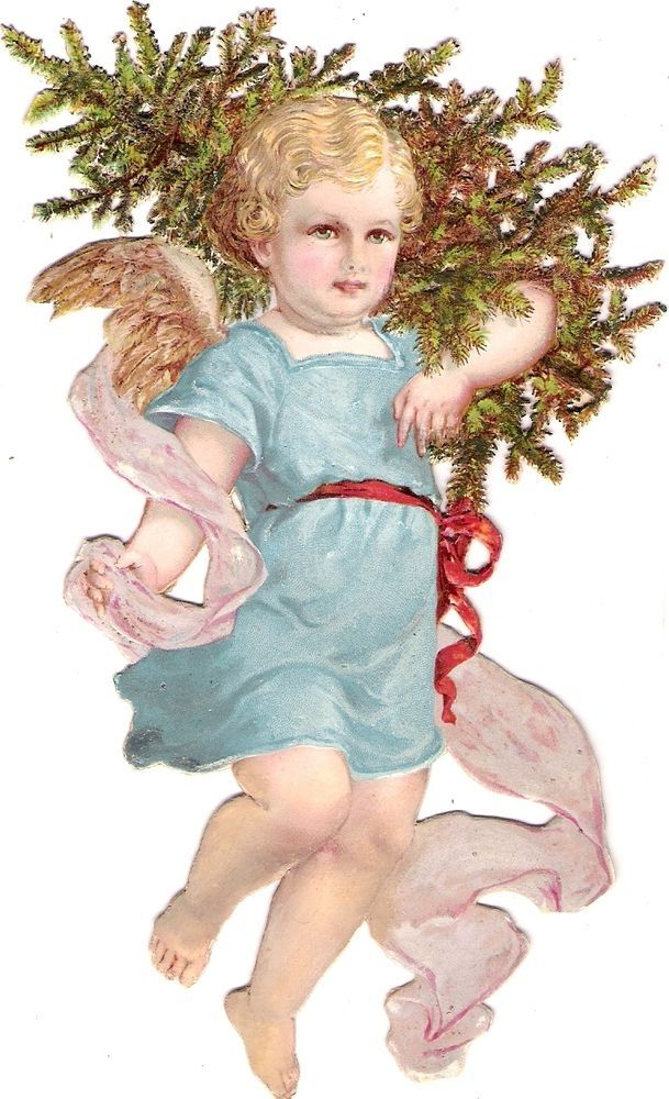 Oblaten Glanzbild scrap die cut chromo Winter Engel angel XMAS tree Baum: