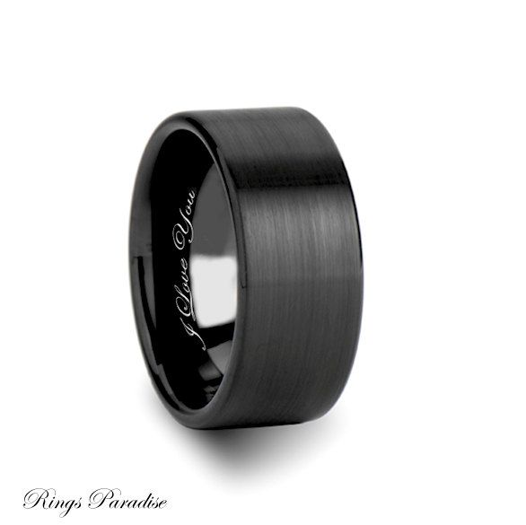 10mm Personalized Brushed Black Tungsten Engagement Rings, Unisex Wedding Jewelry Gift for Man or Woman