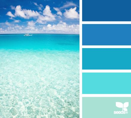 Create a mental vacation with paint colors inspired by the sea. A range of blue to green hues allow you to choose trim and wall paints to compliment one another.