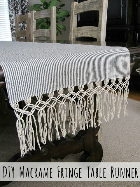 Create a beautiful table runner with this DIY tutorial for adding macrame fringe to a favorite fabric!