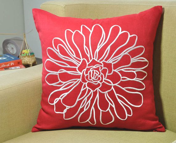 Pillow Cover, Decorative Pillow Cover, Throw Pillow Cover, Couch Pillow, Red Linen White Flower, Embroidered Pillow Cover, Red Cushion Cover
