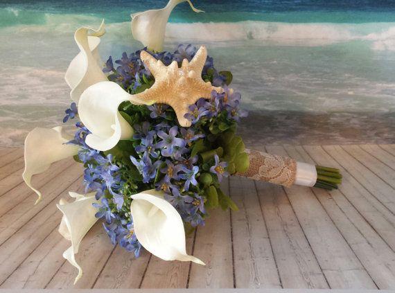Items Similar To Blue White Calla Lily Beach Wedding Bouquet Nautical Coastal Travel