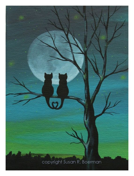 Cat Lovers Silhouette - 7.5 X 10 Print of Cats Sitting on Tree under a Full Moon (can be personalized). $12.00, via Etsy.