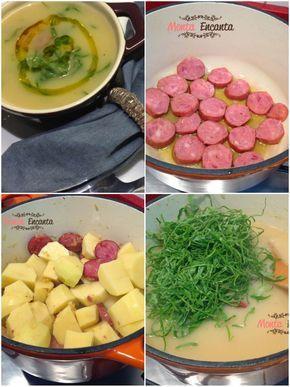 Caldo verde, uma sopa creme de batatas, com linguiça portuguesa, couve bem verdinha! Comida portuguesa saudável para aquecer Inverno gostoso.  Caldo clássico da cozinha portuguesa, simplesmente delicioso e muito fácil de fazer. É provavelmente a sopa mais famosa de Portugal e foi nomeada uma das 7 maravilhas da Gastronomia daquele país.