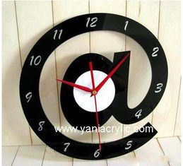 China Decorative Laser Engraving Weatherability Black Plexiglass Wall Acrylic Clocks For Business Gift supplier