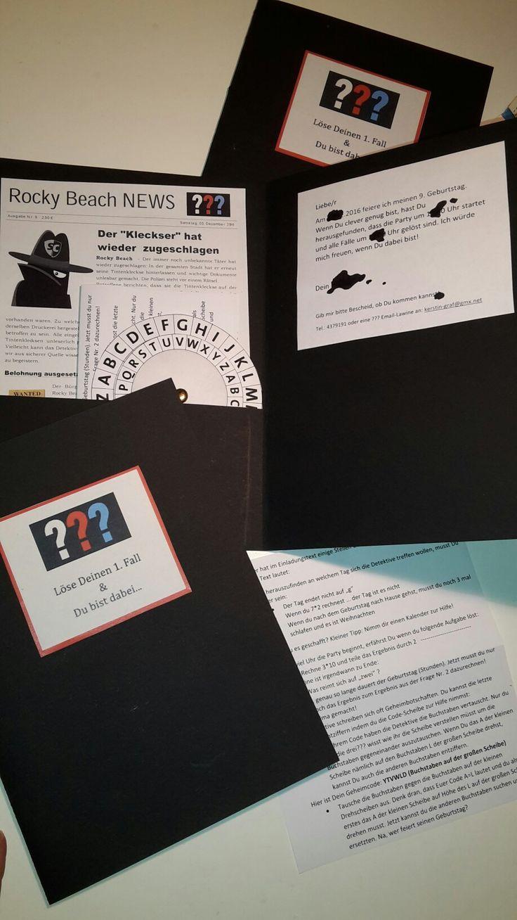 so, die einladung steht... der drei Fragezeichen Geburtstag kann kommen. Einladung: Größe in A5. Text muss mittels mitgelieferten aufgabenblatt und decodier-scheibe gelöst werden. nur so wissen die kids wann sie wo sein müssen :-)