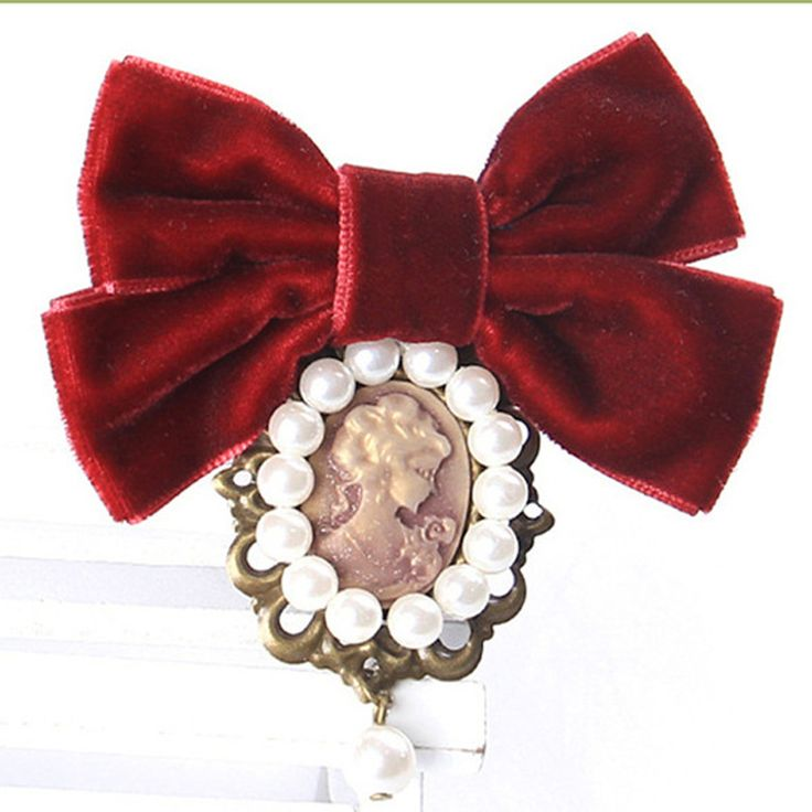 Fashion Women Pretty Velvet Ribbon Bowknot Beautiful Cameo Lady Head Simulated-pearl Brooches Vintage Elegant Costume Jewelry