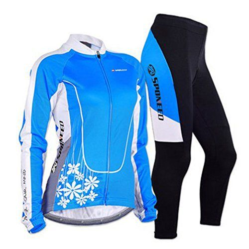 Sponeed Women's Cycle Jersey Bike Clothing Gel Padded Long Sleeve Mysteriousness Size L US Blue - http://ridingjerseys.com/sponeed-womens-cycle-jersey-bike-clothing-gel-padded-long-sleeve-mysteriousness-size-l-us-blue/