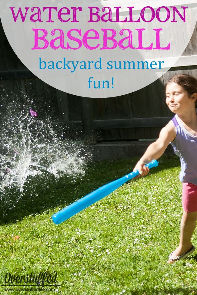Looking for a fun and frugal summer activity to stave off the boredom? Try water balloon baseball right in your own backyard--it's cheap and easy and the kids will love it! #overstuffedlife