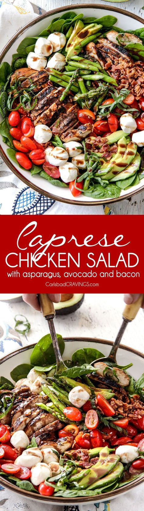 Grilled Caprese Chicken Salad with the most incredible balsamic marinated chicken, fresh tomatoes, creamy mozzarella, grilled asparagus, creamy avocado and crispy bacon all drizzled with Creamy Balsamic Reduction Dressing. Out of this world! #summersalad #springsalad #ad