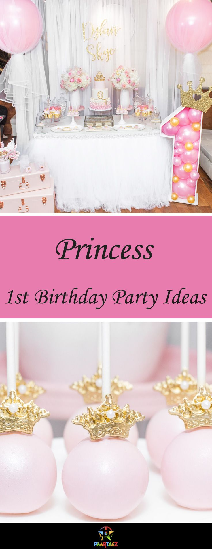 Princess themed first birthday party idea for girls.